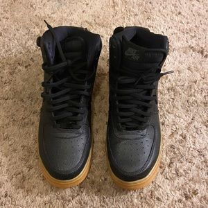 black air forces with tan bottoms